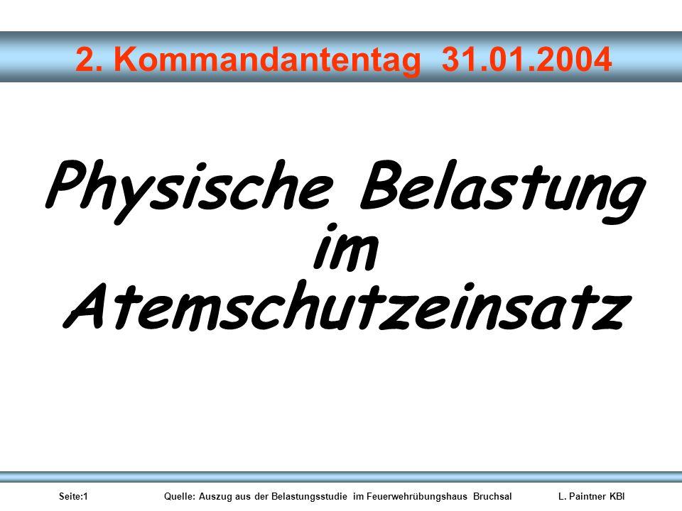 Seite:1 Quelle: Auszug aus der Belastungsstudie im Feuerwehrübungshaus BruchsalL. Paintner KBI 2. Kommandantentag 31.01.2004 Physische Belastung im At