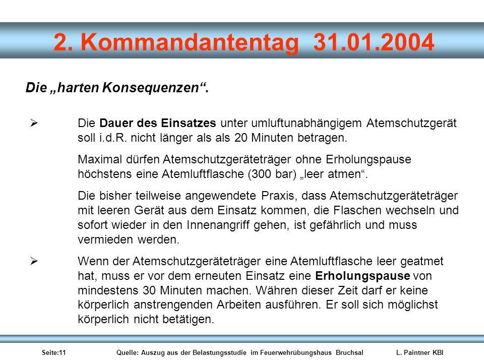 Seite:11 Quelle: Auszug aus der Belastungsstudie im Feuerwehrübungshaus BruchsalL. Paintner KBI 2. Kommandantentag 31.01.2004 Die harten Konsequenzen.