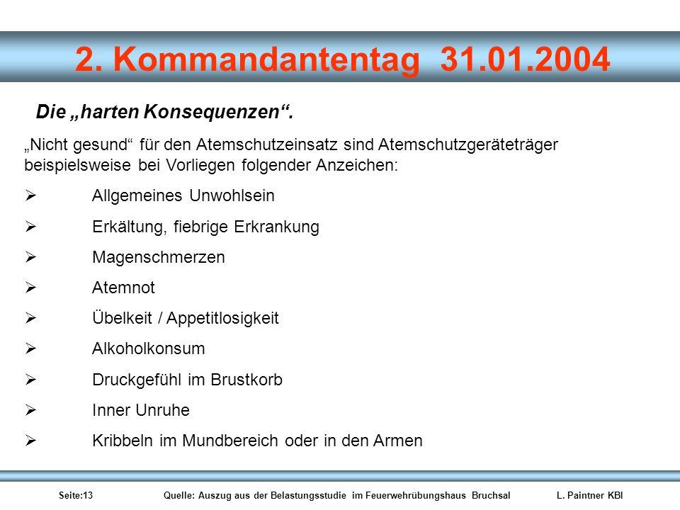 Seite:13 Quelle: Auszug aus der Belastungsstudie im Feuerwehrübungshaus BruchsalL. Paintner KBI 2. Kommandantentag 31.01.2004 Nicht gesund für den Ate