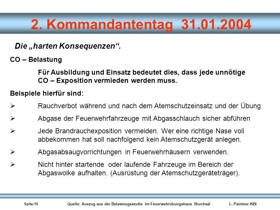 Seite:16 Quelle: Auszug aus der Belastungsstudie im Feuerwehrübungshaus BruchsalL. Paintner KBI 2. Kommandantentag 31.01.2004 CO – Belastung Für Ausbi