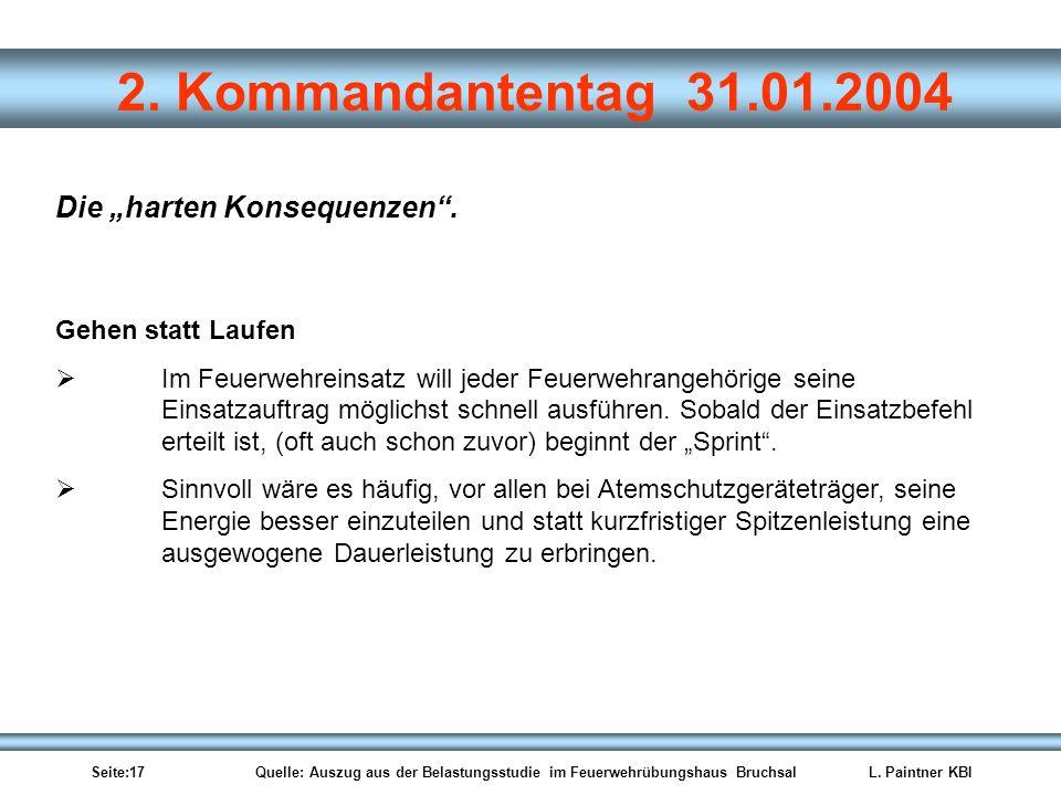 Seite:17 Quelle: Auszug aus der Belastungsstudie im Feuerwehrübungshaus BruchsalL. Paintner KBI 2. Kommandantentag 31.01.2004 Gehen statt Laufen Im Fe