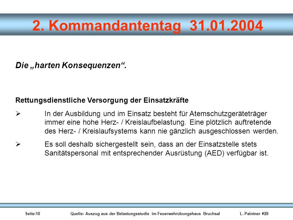 Seite:18 Quelle: Auszug aus der Belastungsstudie im Feuerwehrübungshaus BruchsalL. Paintner KBI 2. Kommandantentag 31.01.2004 Rettungsdienstliche Vers