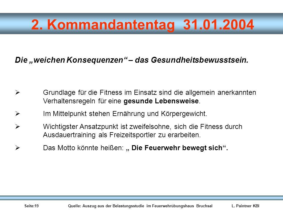 Seite:19 Quelle: Auszug aus der Belastungsstudie im Feuerwehrübungshaus BruchsalL. Paintner KBI 2. Kommandantentag 31.01.2004 Die weichen Konsequenzen