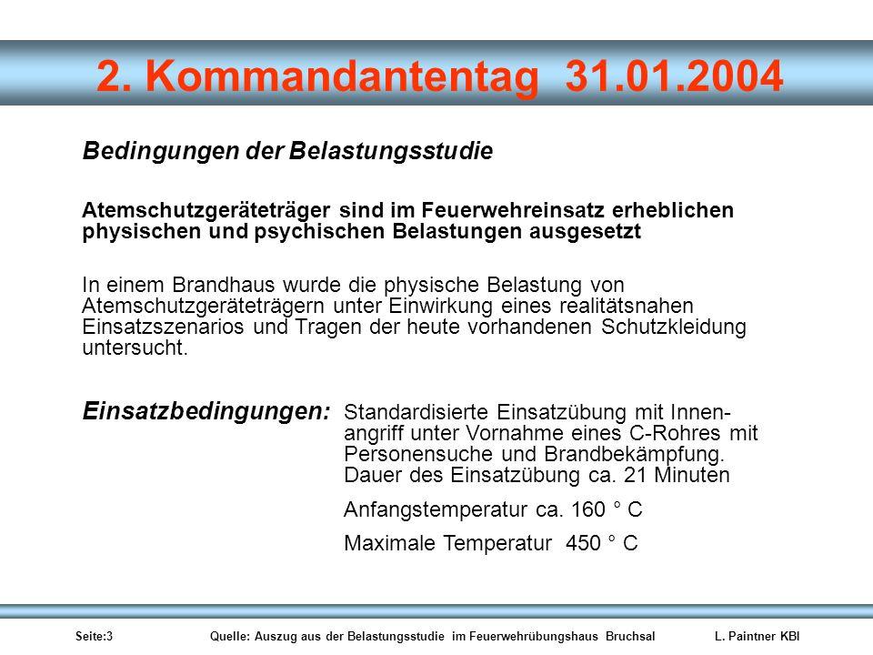 Seite:3 Quelle: Auszug aus der Belastungsstudie im Feuerwehrübungshaus BruchsalL. Paintner KBI 2. Kommandantentag 31.01.2004 Atemschutzgeräteträger si