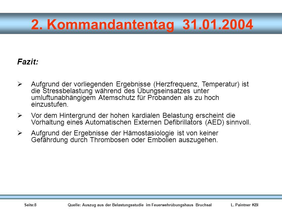 Seite:8 Quelle: Auszug aus der Belastungsstudie im Feuerwehrübungshaus BruchsalL. Paintner KBI 2. Kommandantentag 31.01.2004 Fazit: Aufgrund der vorli