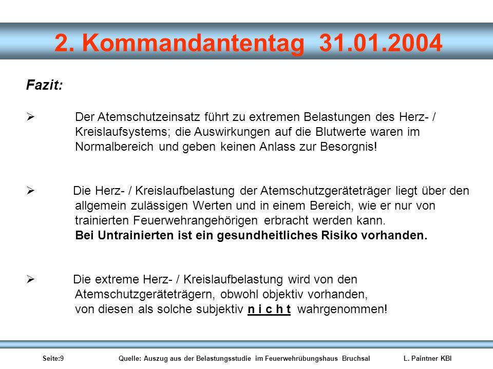Seite:9 Quelle: Auszug aus der Belastungsstudie im Feuerwehrübungshaus BruchsalL. Paintner KBI 2. Kommandantentag 31.01.2004 Der Atemschutzeinsatz füh