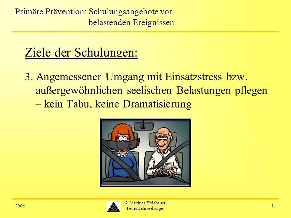 200611 © Matthias Holzbauer Feuerwehrseelsorge Primäre Prävention: Schulungsangebote vor belastenden Ereignissen Ziele der Schulungen: 3.
