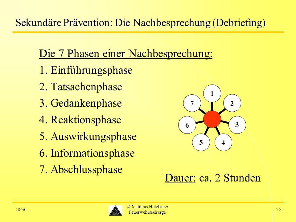 200619 © Matthias Holzbauer Feuerwehrseelsorge Sekundäre Prävention: Die Nachbesprechung (Debriefing) Die 7 Phasen einer Nachbesprechung: 1. Einführun