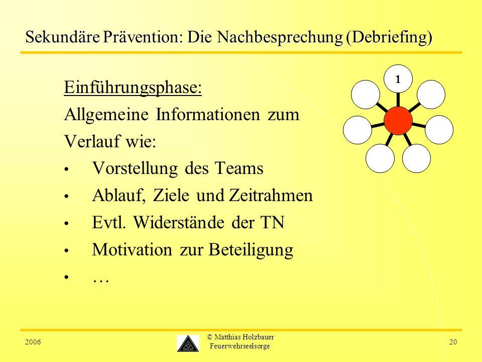 200620 © Matthias Holzbauer Feuerwehrseelsorge Sekundäre Prävention: Die Nachbesprechung (Debriefing) Einführungsphase: Allgemeine Informationen zum V