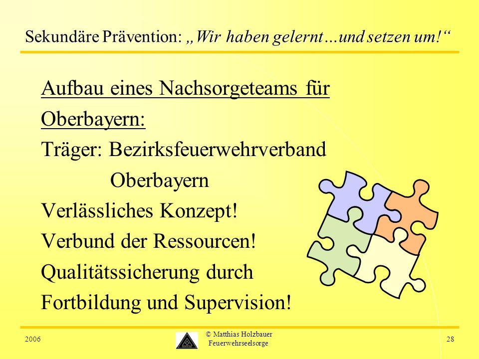 200628 © Matthias Holzbauer Feuerwehrseelsorge Sekundäre Prävention: Wir haben gelernt…und setzen um! Aufbau eines Nachsorgeteams für Oberbayern: Träg