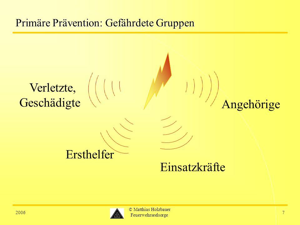 20067 © Matthias Holzbauer Feuerwehrseelsorge Primäre Prävention: Gefährdete Gruppen Verletzte, Geschädigte Einsatzkräfte Angehörige Ersthelfer