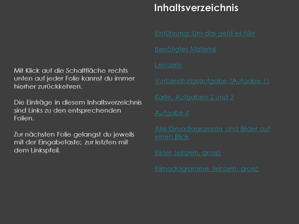InhaltInhaltsverzeichnis Mit Klick auf die Schaltfläche rechts unten auf jeder Folie kannst du immer hierher zurückkehren. Die Einträge in diesem Inha