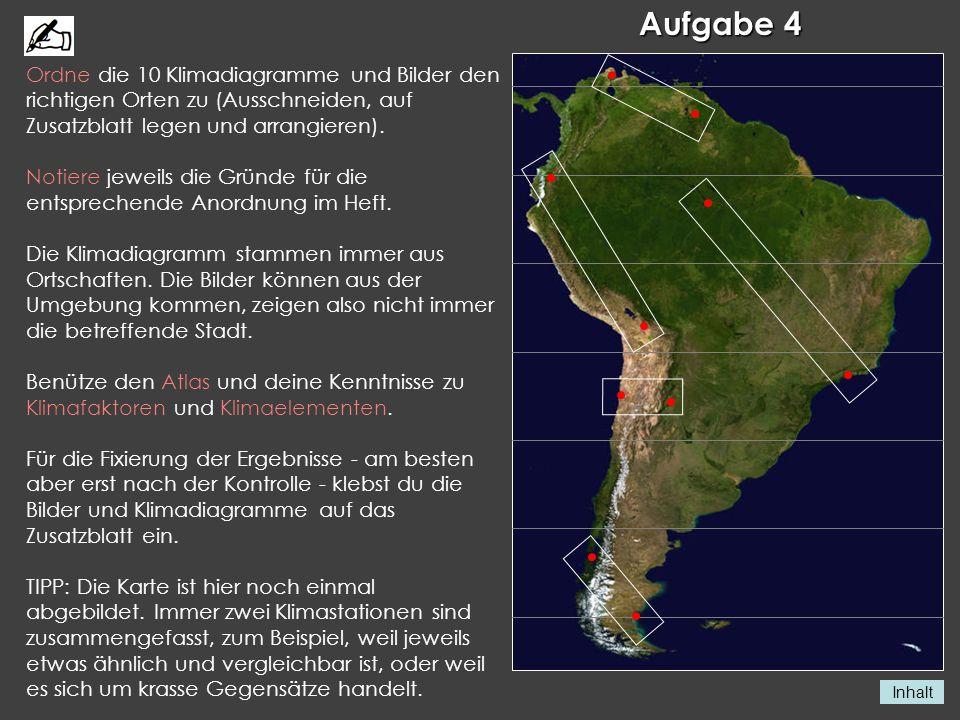 Inhalt Aufgabe 4 Ordne die 10 Klimadiagramme und Bilder den richtigen Orten zu (Ausschneiden, auf Zusatzblatt legen und arrangieren). Notiere jeweils