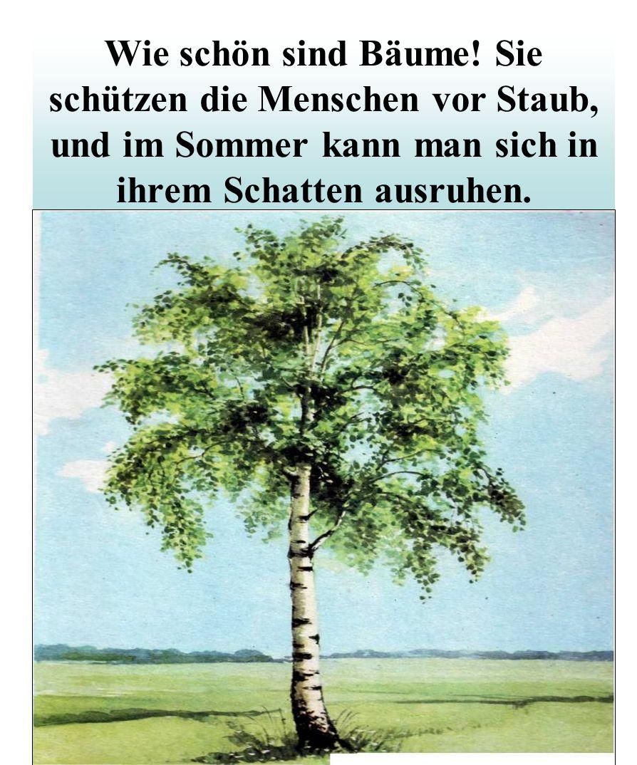 Wie schön sind Bäume! Sie schützen die Menschen vor Staub, und im Sommer kann man sich in ihrem Schatten ausruhen.