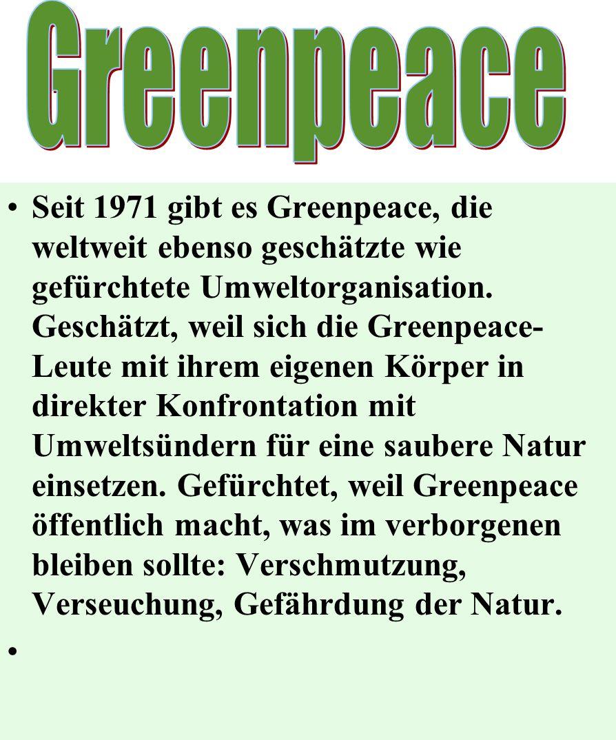 Seit 1971 gibt es Greenpeace, die weltweit ebenso geschätzte wie gefürchtete Umweltorganisation. Geschätzt, weil sich die Greenpeace- Leute mit ihrem