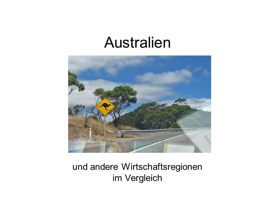 Australien und andere Wirtschaftsregionen im Vergleich