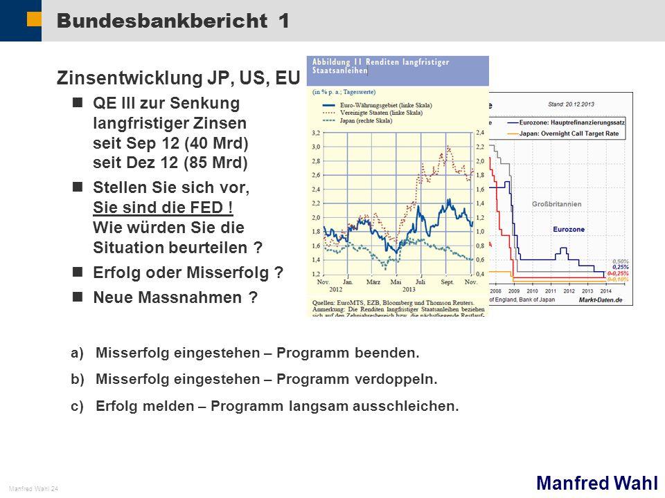 Manfred Wahl Manfred Wahl 24 Bundesbankbericht 1 Zinsentwicklung JP, US, EU QE III zur Senkung langfristiger Zinsen seit Sep 12 (40 Mrd) seit Dez 12 (