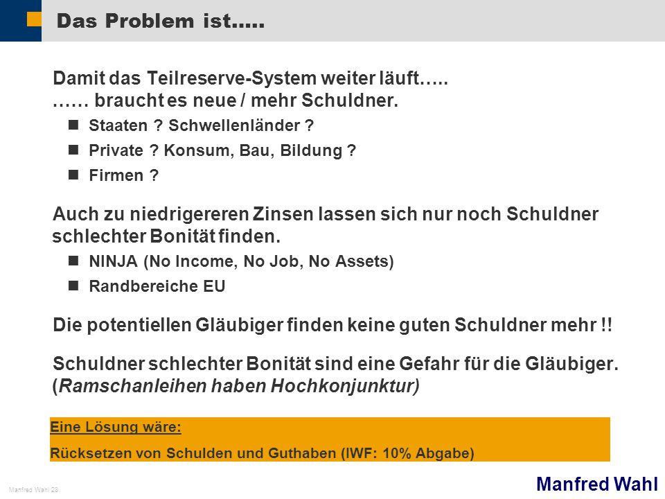 Manfred Wahl Manfred Wahl 28 Das Problem ist….. Damit das Teilreserve-System weiter läuft….. …… braucht es neue / mehr Schuldner. Staaten ? Schwellenl