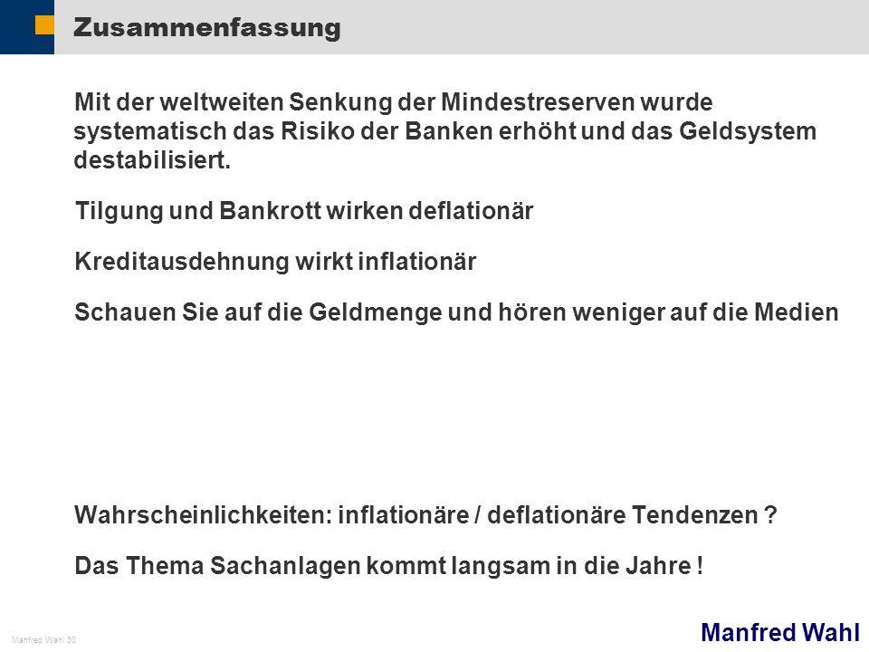 Manfred Wahl Manfred Wahl 30 Zusammenfassung Mit der weltweiten Senkung der Mindestreserven wurde systematisch das Risiko der Banken erhöht und das Ge