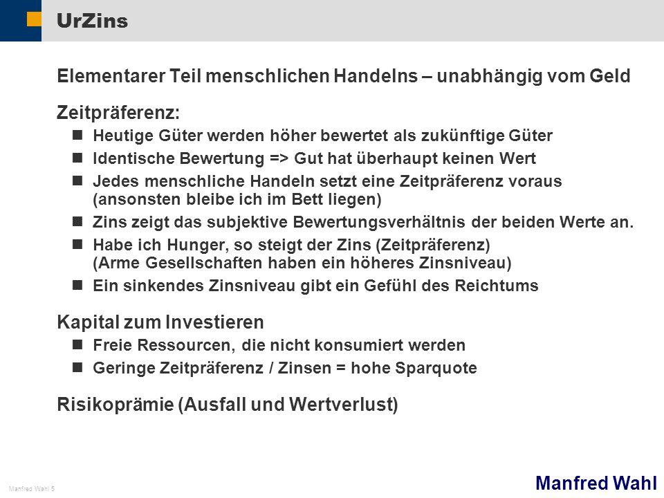 Manfred Wahl Manfred Wahl 5 UrZins Elementarer Teil menschlichen Handelns – unabhängig vom Geld Zeitpräferenz: Heutige Güter werden höher bewertet als