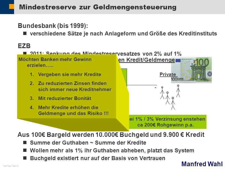 Manfred Wahl Manfred Wahl 8 Mindestreserve zur Geldmengensteuerung Bundesbank (bis 1999): verschiedene Sätze je nach Anlageform und Größe des Kreditin