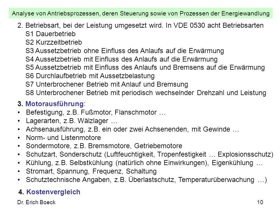 Analyse von Antriebsprozessen, deren Steuerung sowie von Prozessen der Energiewandlung Dr. Erich Boeck10 3. Motorausführung: Befestigung, z.B. Fußmoto