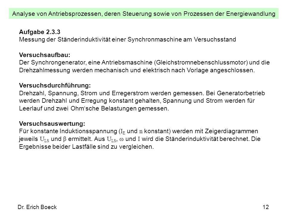 Analyse von Antriebsprozessen, deren Steuerung sowie von Prozessen der Energiewandlung Dr. Erich Boeck12 Aufgabe 2.3.3 Messung der Ständerinduktivität