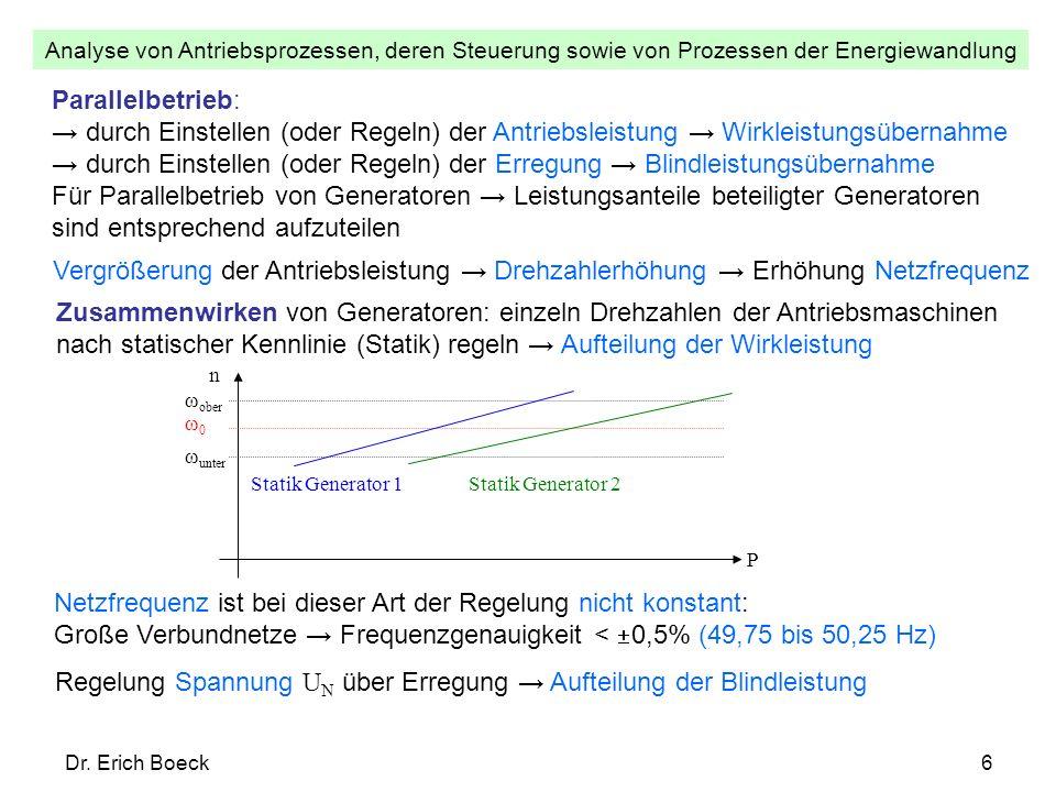 Analyse von Antriebsprozessen, deren Steuerung sowie von Prozessen der Energiewandlung Dr. Erich Boeck6 Parallelbetrieb: durch Einstellen (oder Regeln