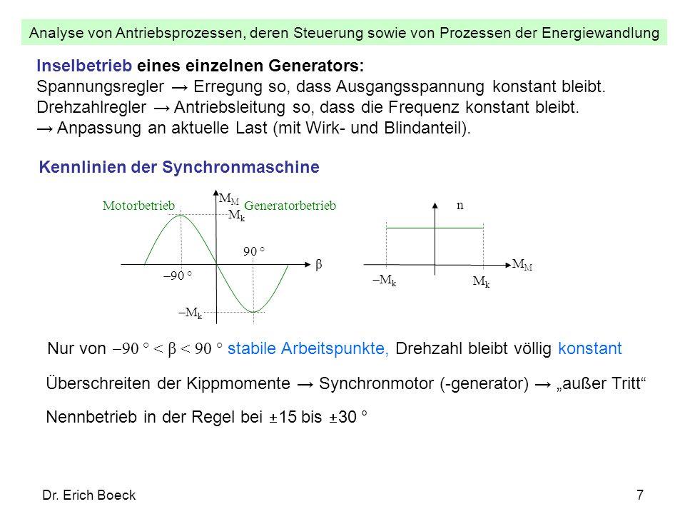 Analyse von Antriebsprozessen, deren Steuerung sowie von Prozessen der Energiewandlung Dr. Erich Boeck7 Inselbetrieb eines einzelnen Generators: Spann