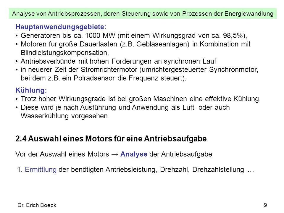 Analyse von Antriebsprozessen, deren Steuerung sowie von Prozessen der Energiewandlung Dr. Erich Boeck9 Hauptanwendungsgebiete: Generatoren bis ca. 10
