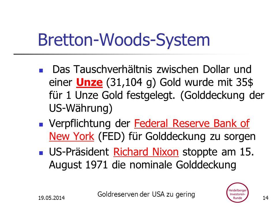 Bretton-Woods-System Das Tauschverhältnis zwischen Dollar und einer Unze (31,104 g) Gold wurde mit 35$ für 1 Unze Gold festgelegt. (Golddeckung der US