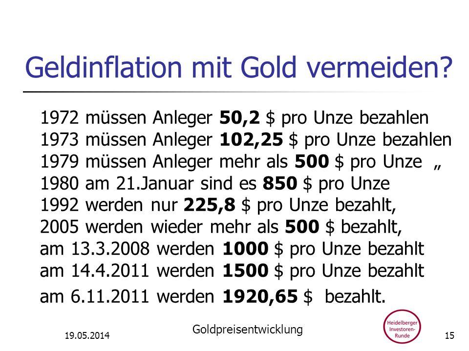 Geldinflation mit Gold vermeiden? 1972 müssen Anleger 50,2 $ pro Unze bezahlen 1973 müssen Anleger 102,25 $ pro Unze bezahlen 1979 müssen Anleger mehr