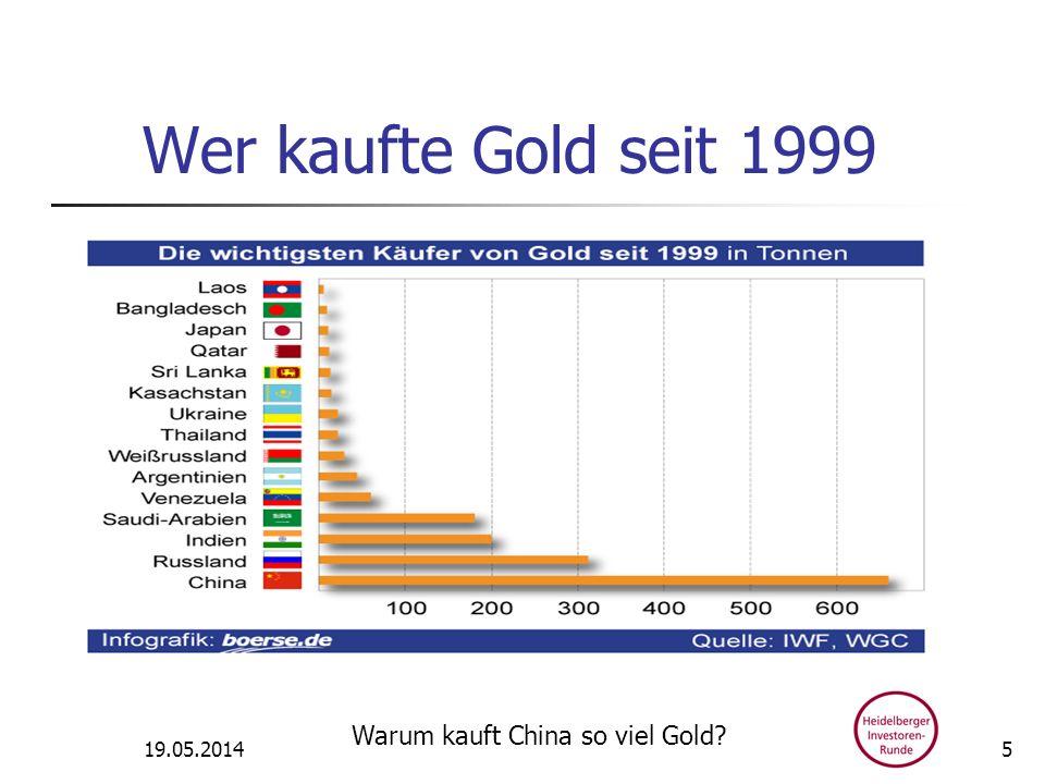 Wer kaufte Gold seit 1999 19.05.2014 Warum kauft China so viel Gold? 5