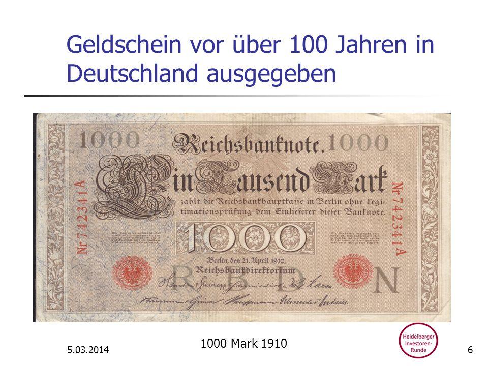 Geldschein vor über 100 Jahren in Deutschland ausgegeben 5.03.2014 1000 Mark 1910 6