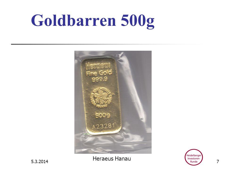 Goldbarren 500g 5.3.2014 Heraeus Hanau 7