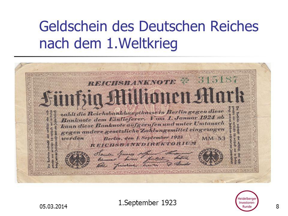 Geldschein des Deutschen Reiches nach dem 1.Weltkrieg 05.03.2014 1.September 1923 8