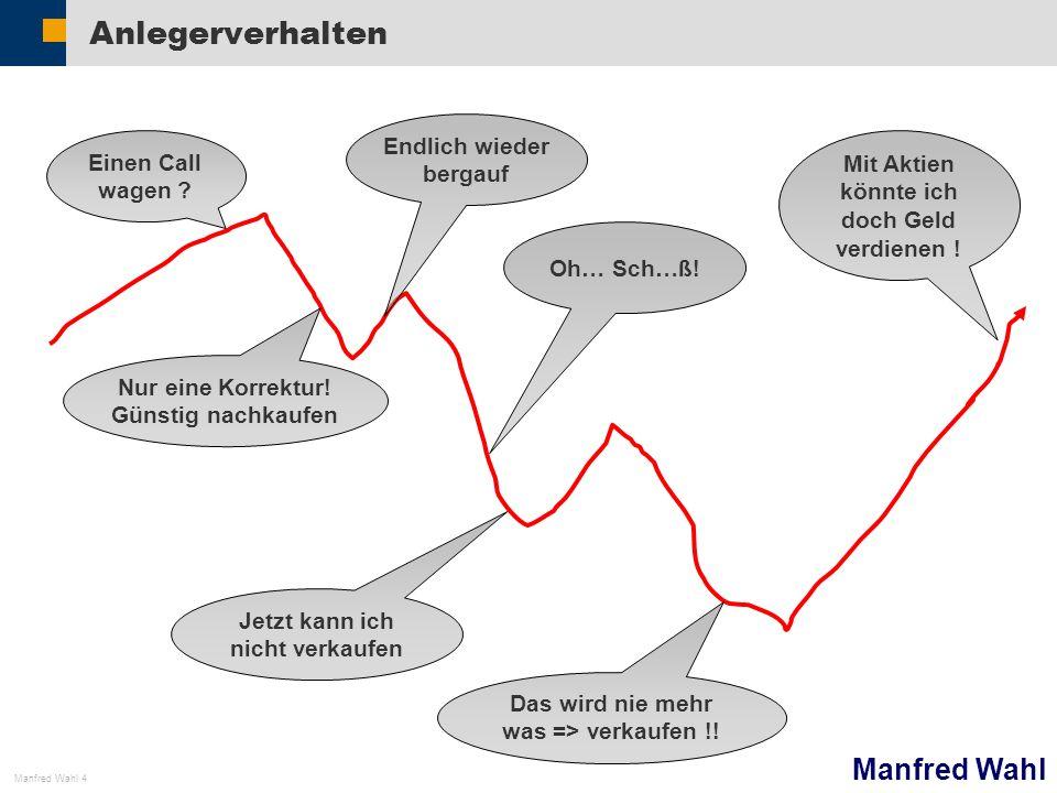 Manfred Wahl Manfred Wahl 4 Anlegerverhalten Einen Call wagen ? Nur eine Korrektur! Günstig nachkaufen Endlich wieder bergauf Oh… Sch…ß! Jetzt kann ic