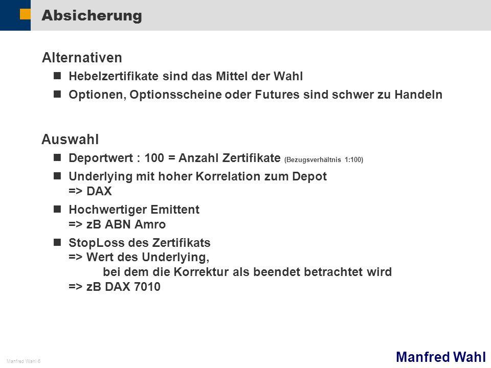 Manfred Wahl Manfred Wahl 7 Konkret Depot:4.000 => Underlying DAX => 40 Short Zertifikate StopLoss:ca 7000 Kurse darüber sind eine Fortsetzung der Hausse ABN Amro (6.März 22:00 DAX 6604,8) WKNStopBasisGeldBrief AA0F1S701071205,155,17 AA0F2L687069773,733,74