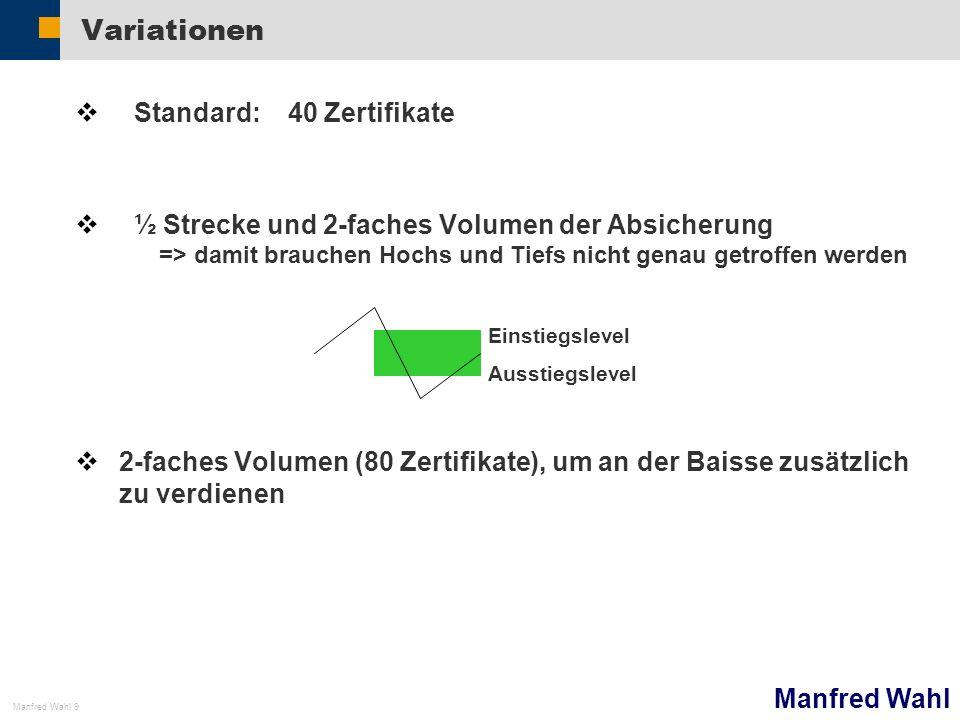 Manfred Wahl Manfred Wahl 9 Variationen Standard: 40 Zertifikate ½ Strecke und 2-faches Volumen der Absicherung => damit brauchen Hochs und Tiefs nich