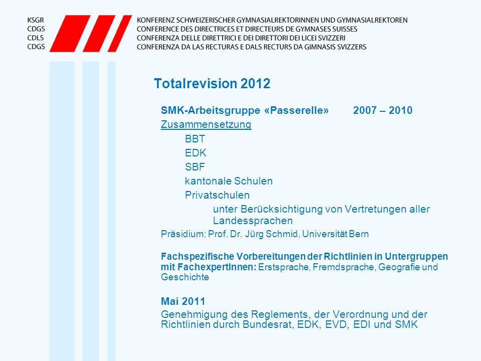 Totalrevision 2012 SMK-Arbeitsgruppe «Passerelle»2007 – 2010 Zusammensetzung BBT EDK SBF kantonale Schulen Privatschulen unter Berücksichtigung von Ve