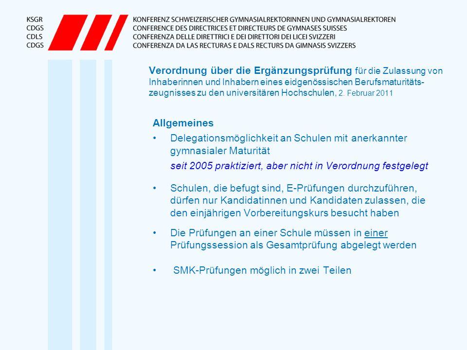 Verordnung über die Ergänzungsprüfung für die Zulassung von Inhaberinnen und Inhabern eines eidgenössischen Berufsmaturitäts- zeugnisses zu den univer