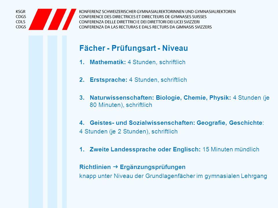 Fächer - Prüfungsart - Niveau 1.Mathematik: 4 Stunden, schriftlich 2.Erstsprache: 4 Stunden, schriftlich 3.Naturwissenschaften: Biologie, Chemie, Phys