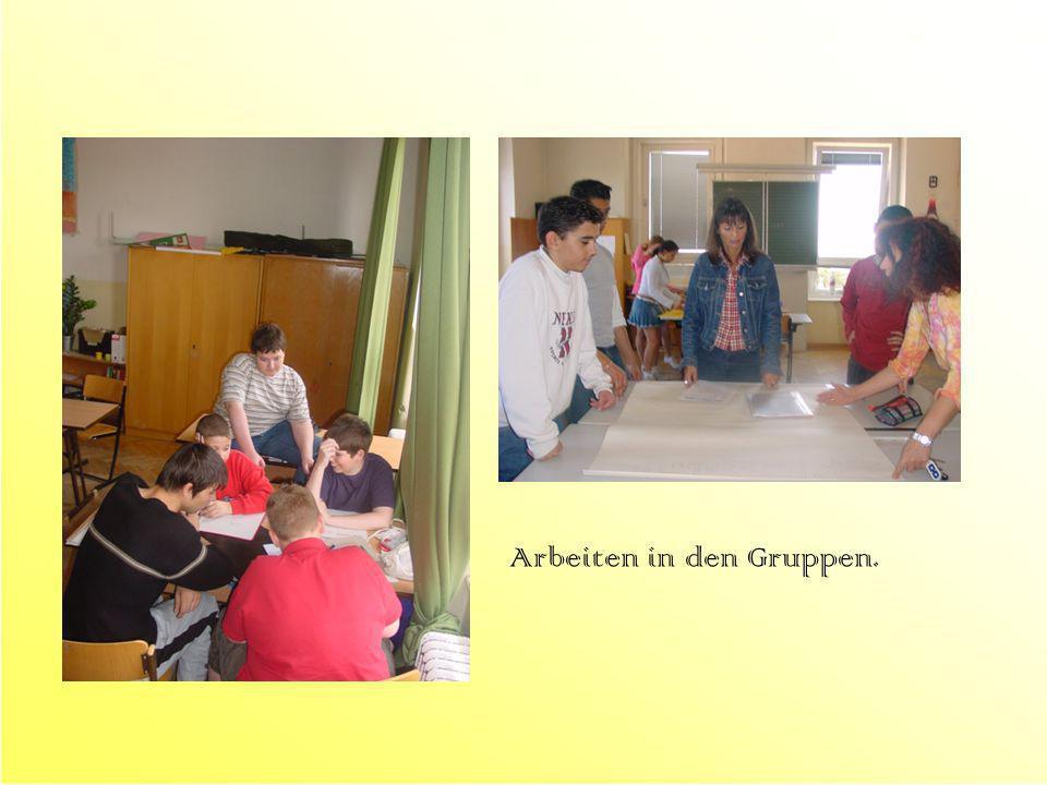 Präsentation der Gruppenergebnisse Alle SchülerInnen bearbeiten Lückentexte, Frageblätter und Rätsel (die ebenfalls in den Gruppen erstellt worden sind) mit Hilfe der Plakate.