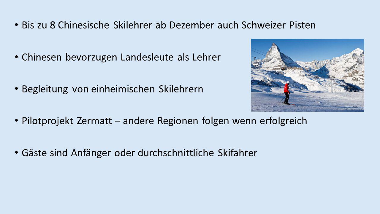 Bis zu 8 Chinesische Skilehrer ab Dezember auch Schweizer Pisten Chinesen bevorzugen Landesleute als Lehrer Begleitung von einheimischen Skilehrern Pilotprojekt Zermatt – andere Regionen folgen wenn erfolgreich Gäste sind Anfänger oder durchschnittliche Skifahrer