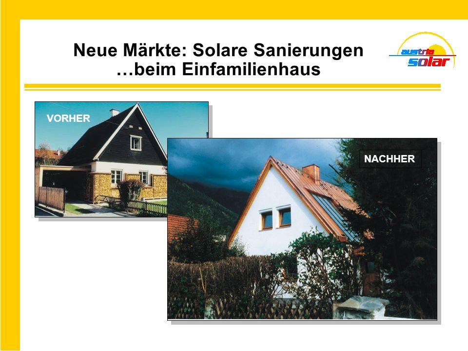 Neue Märkte: Solare Sanierungen …beim Einfamilienhaus NACHHER VORHER