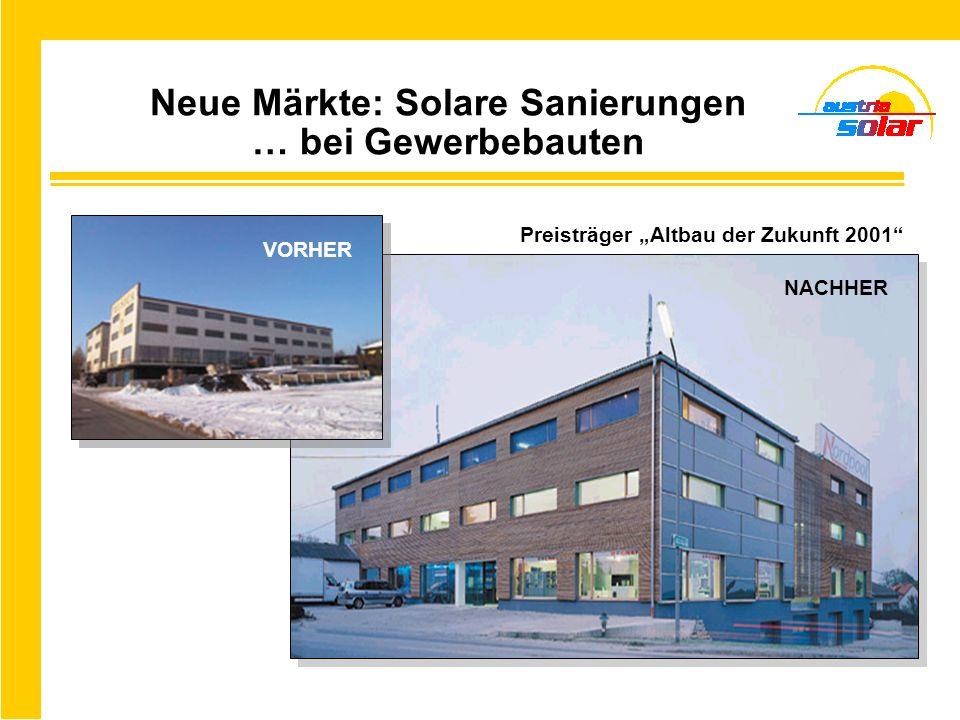 Neue Märkte: Solare Sanierungen … bei Gewerbebauten NACHHER Preisträger Altbau der Zukunft 2001 VORHER