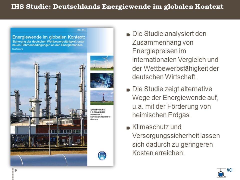 IHS Studie: Deutschlands Energiewende im globalen Kontext 9 Die Studie analysiert den Zusammenhang von Energiepreisen im internationalen Vergleich und