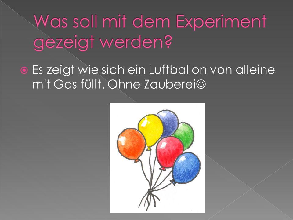 Es zeigt wie sich ein Luftballon von alleine mit Gas füllt. Ohne Zauberei