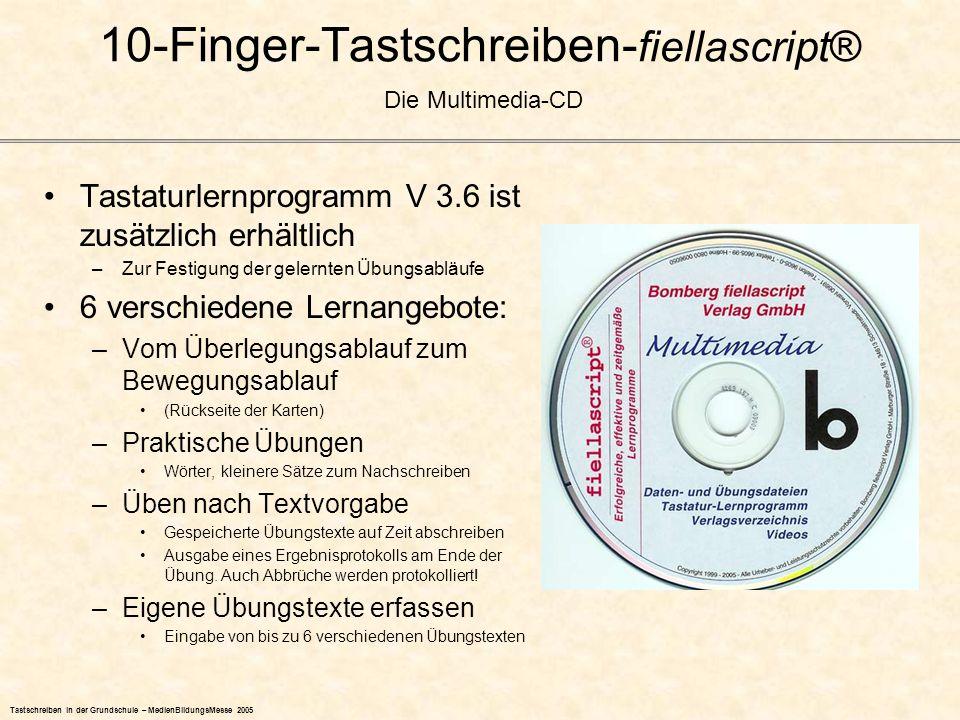 Tastschreiben in der Grundschule – MedienBildungsMesse 2005 Tastaturlernprogramm V 3.6 ist zusätzlich erhältlich –Zur Festigung der gelernten Übungsab