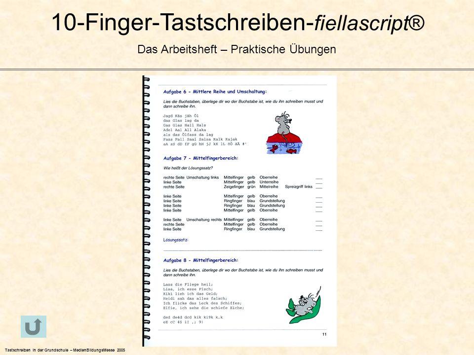 10-Finger-Tastschreiben- fiellascript® Das Arbeitsheft – Praktische Übungen Tastschreiben in der Grundschule – MedienBildungsMesse 2005